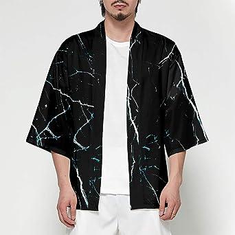 Hombre Camisa Cardigan Kimono Hippie Cloak Playa Chaqueta Estilo Manga 3/4 Japonés Estampado Holgado XXS: Amazon.es: Iluminación