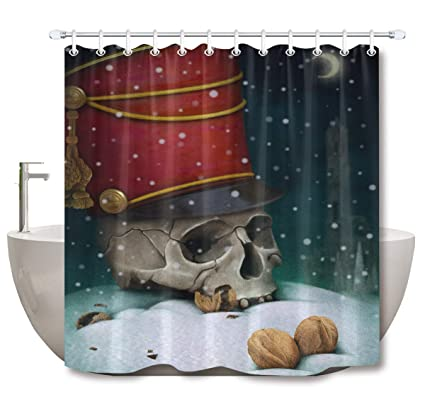 LB Nightmare Before Christmas Shower Curtain Skull With Red Hat Walnuts Funny Holiday Curtains For