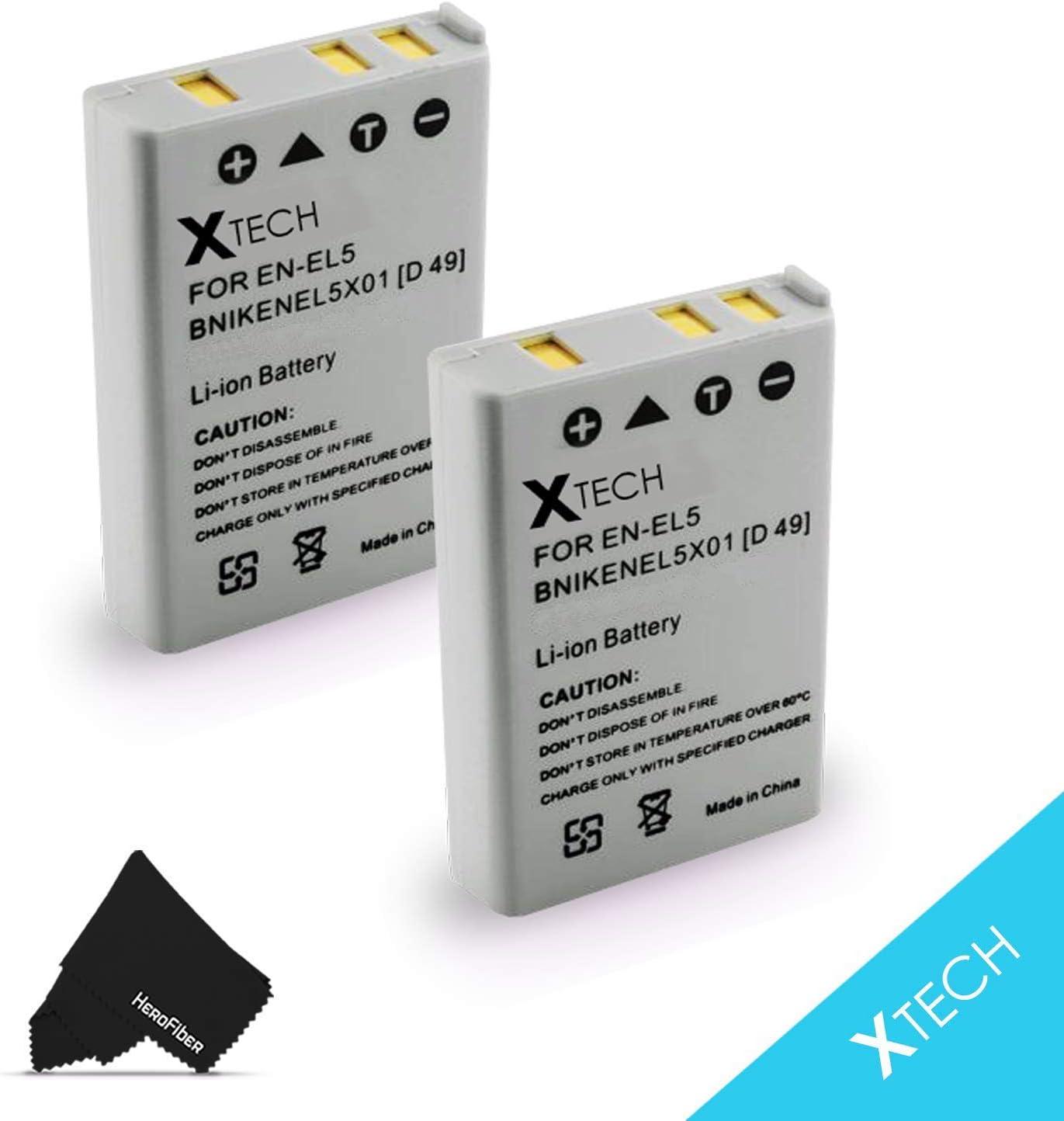 2 High Capacity Replacement Nikon EN-EL5 Batteries for Nikon Coolpix P3, P4, P80, P90, P100, P500, P510, P520, P530, P5000, P5100, P6000, S10, 3700, 4200, 5200, 5900, 7900 Digital Cameras