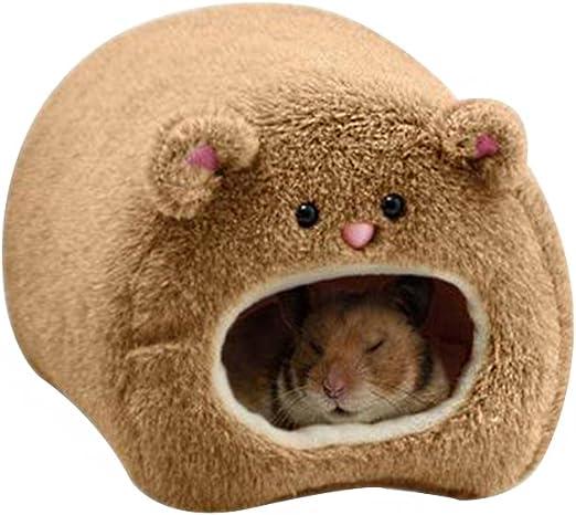 Outflower Hamsters Cálido Algodón Cama Dormitorio Xiongzi Algodón Nido Hámster Suministros Cálidos Invierno Suministros Nido(Marrón): Amazon.es: Productos para mascotas