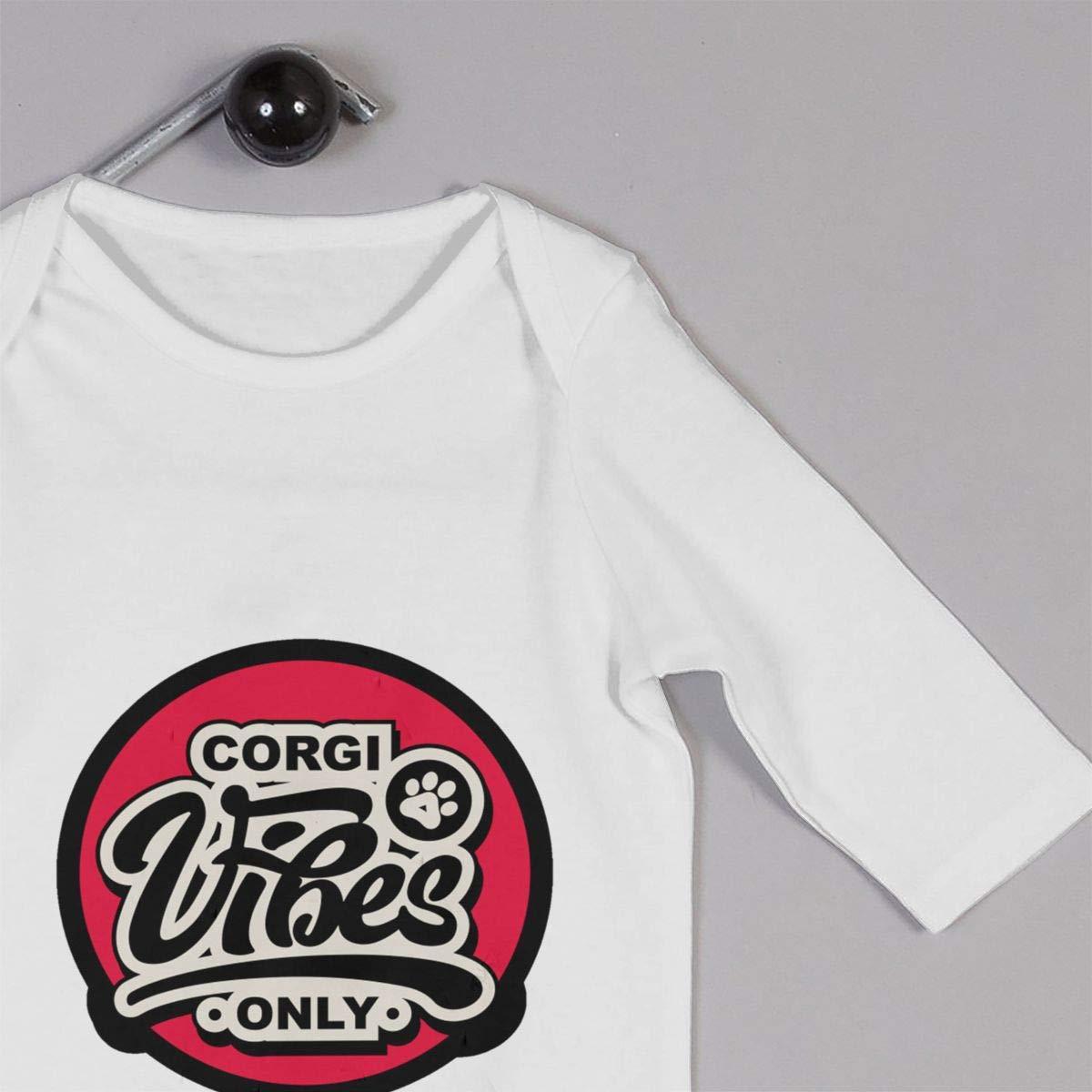 Corgi Vibes Baby Long Sleeve Bodysuit Cotton Romper