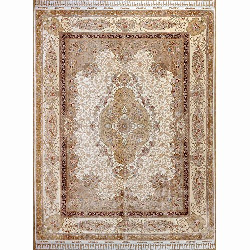 Yilong 8.5'x11.8′ Hand Made Oriental Turkish Silk Rug Floral Traditional Hand Knotted Carpet (8.5-Feet-by-11.8-Feet…