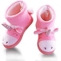 VLLY Girl's Unicorn Boots Winter Cute Warm Comfy Booties Slippers House Shoes