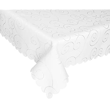 EcoSol Designs Microfiber Damask Tablecloth, Wrinkle-Free & Stain Resistant (60x120, White) Swirls
