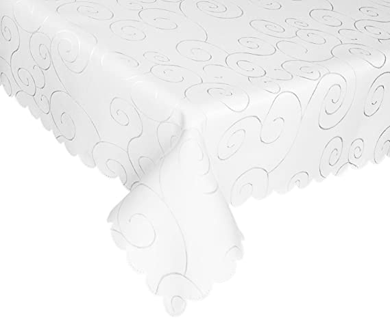 EcoSol Designs Microfiber Damask Tablecloth, Wrinkle-Free & Stain Resistant (60x84, White) Swirls