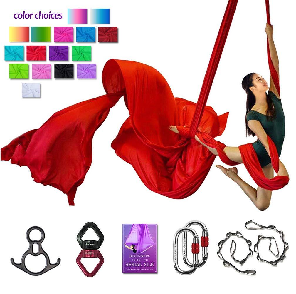 Aerial Silks Deluxe Equipment Set for Aerial Yoga, Aerial Yoga Hammock, Aerial Acrobatic,Circus Arts, Aerial Dance(L:10m W:2.8m (Red)