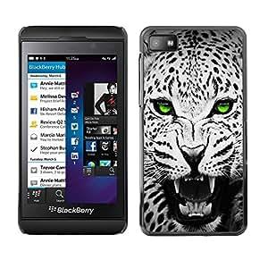 Caucho caso de Shell duro de la cubierta de accesorios de protección BY RAYDREAMMM - Blackberry Z10 - Green Emerald Eyes Leopard Jaguar Black