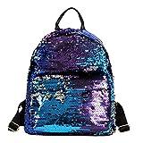 Van Caro Creative Sequined Shiny Glitter Backpack Daypack Travel/Hiking/School Supplies for Women Girls (Blue) …