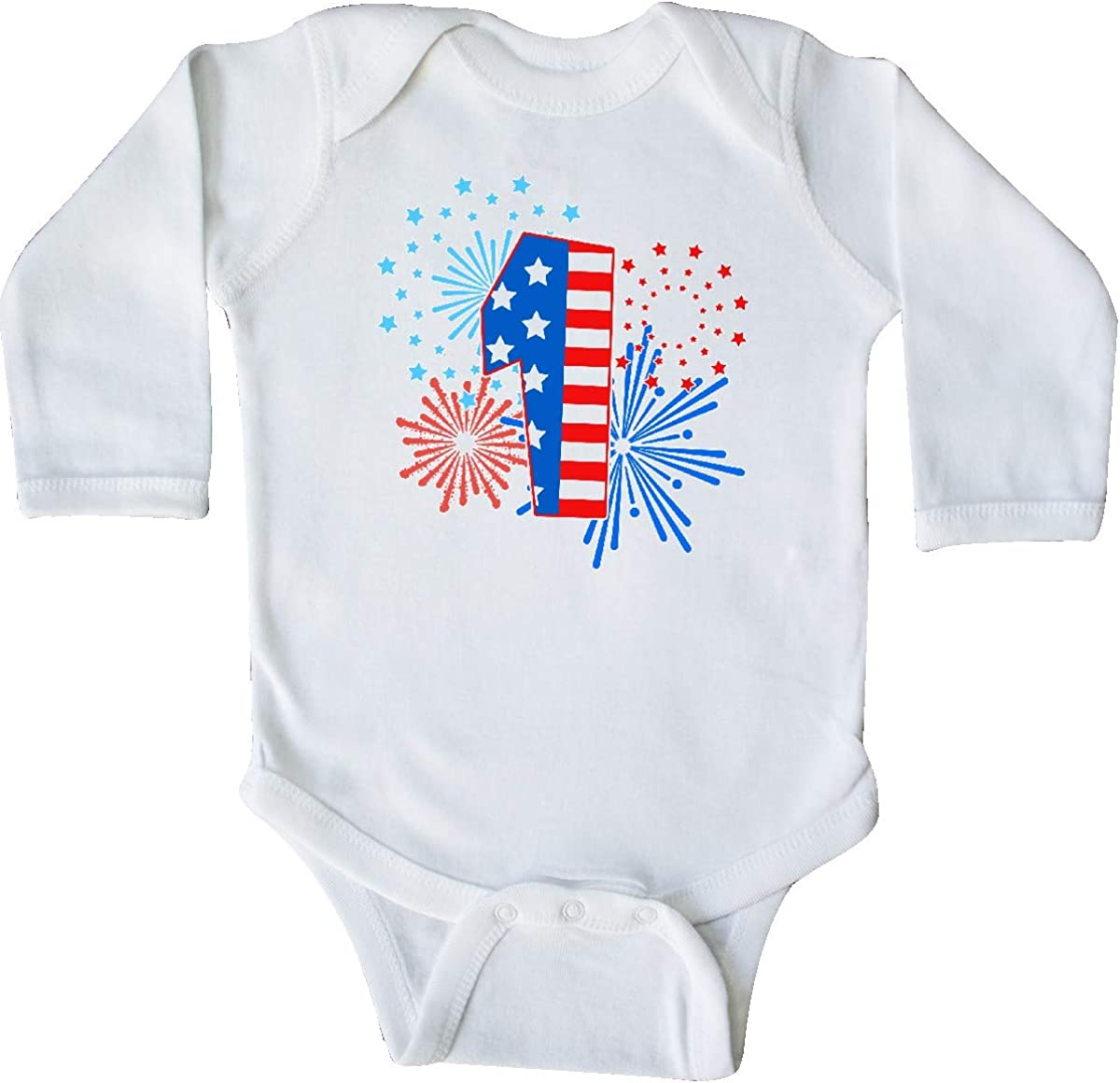 inktastic First Birthday Fourth of July Fireworks Long Sleeve Creeper