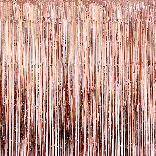 KATCHON Real Rose Gold Foil Fringe Curtain - Beautiful Metallic Tinsel Rose Gold Decorations and Backdrop for Birthday Party, Wedding Decor, Bridal Shower, Baby Shower, Graduation Party -