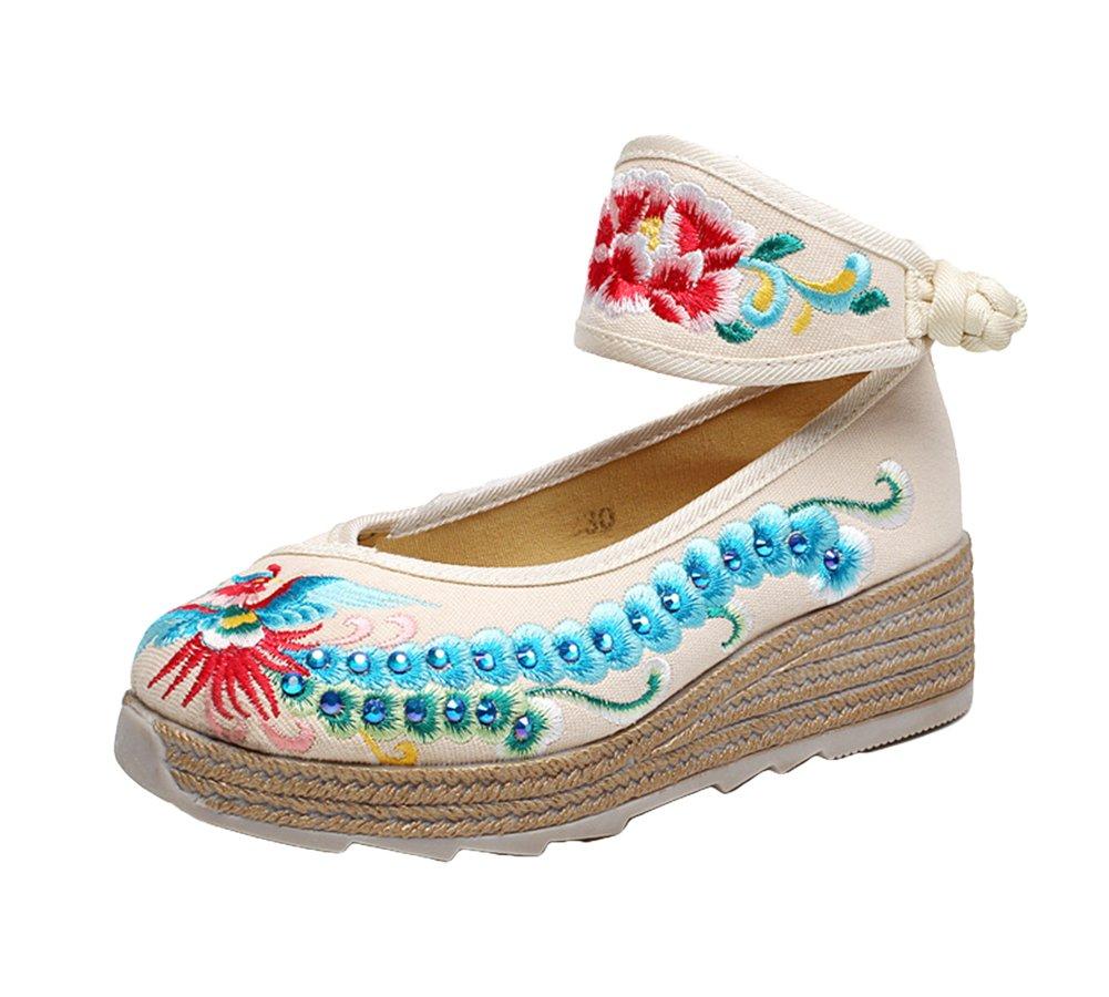 AvaCostume Womens Phoenix Embroidery Increasing Platform Wedge Ankle Band Shoes B01N191M3N 38 M EU|Beige