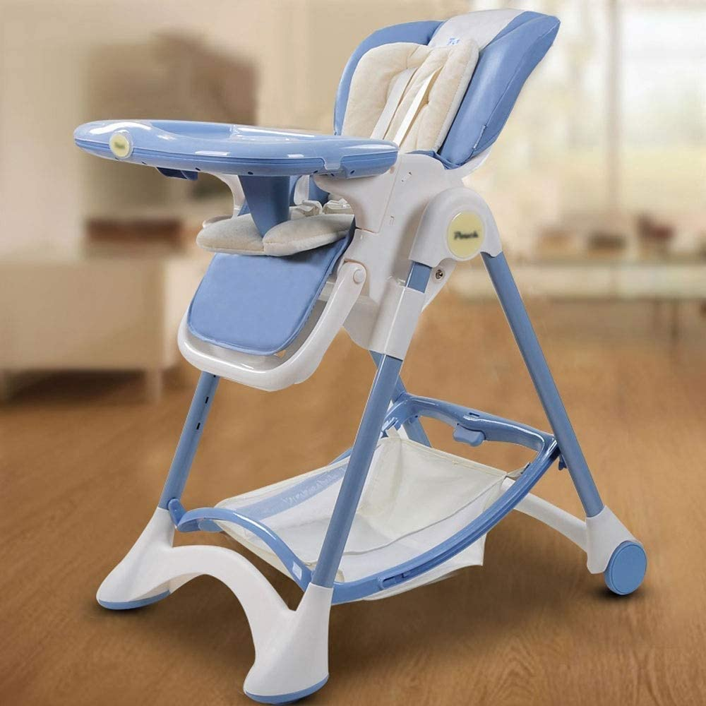YHLZ Baby High Chair, Preferably Leather + Stainless Steel Tube + Food Grade PP, 6 Months - 3 Years Old Baby Multi-Function Sitting Reclining Portable Folding Adjustable Anti-Dumping Chair