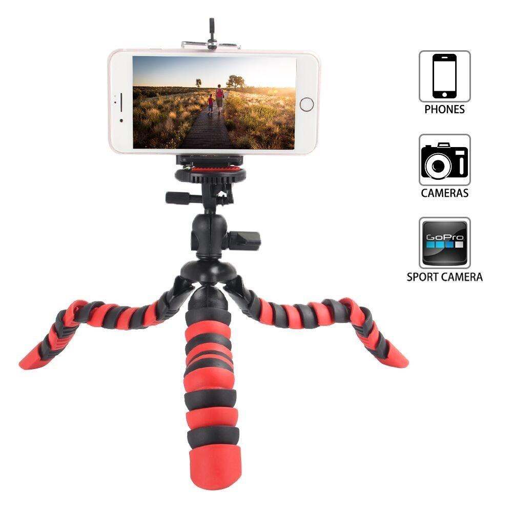 Tairoad Trípode flexible de 12 pulgadas con la pierna plegable y Smartphone libre y adaptador del montaje de Gopro El mejor trípode del recorrido (rojo + negro) …