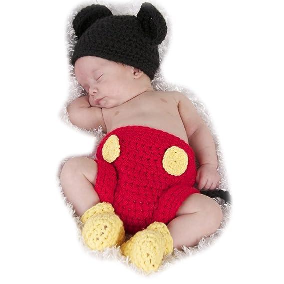 ARAUS Bebé Conjuntos Sombrero Gorro de Punto + Pantalones Disfraz de Animales Unisexo Fotografía Recién Nacido Ropa de Traje
