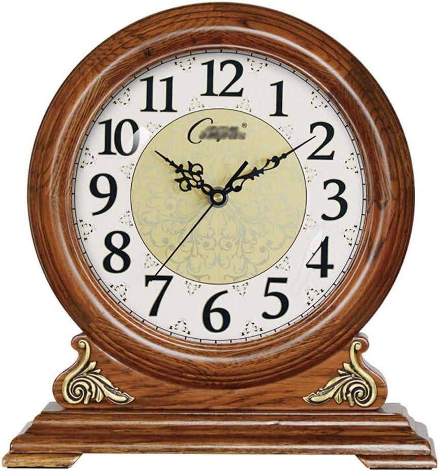 デスクトップ時計リビングルームレトロソリッドウッド電子時計表時計時計ミュート研究ベッドルーム置時計