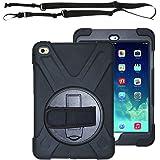 iPad Air 2 ケースショルダー ストラップ 丈夫 頑丈 ラギッド タフ 保護 衝撃 吸収 Trysunny ゴム シリコン キャリー キッズ ホルダー バッグ スタンド 付 (ブラック)