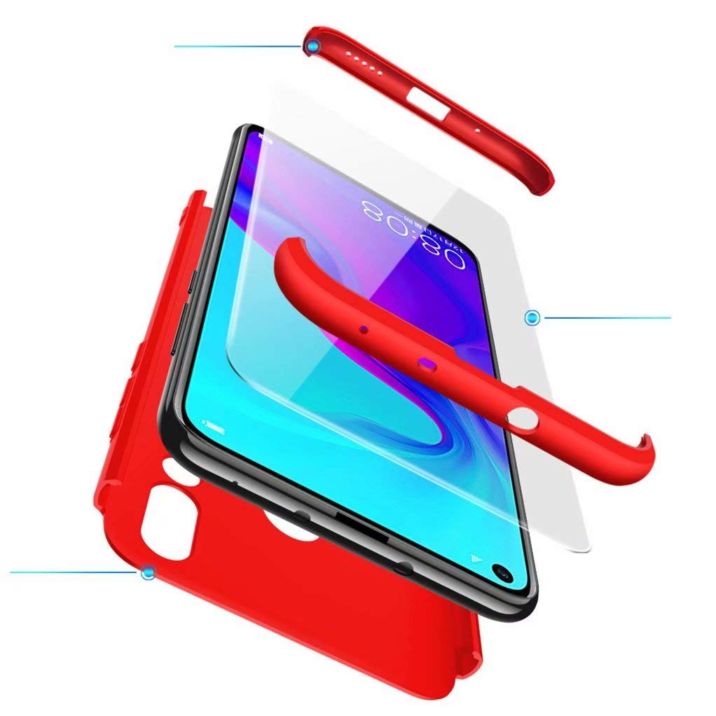 FHXD Compatible avec Les Coque Huawei Nova4 Anti-Choc 360° Cover Case Protection Ultra Fin Anti-Rayures 3 en 1 Protection Housse Coquille-Rouge product image