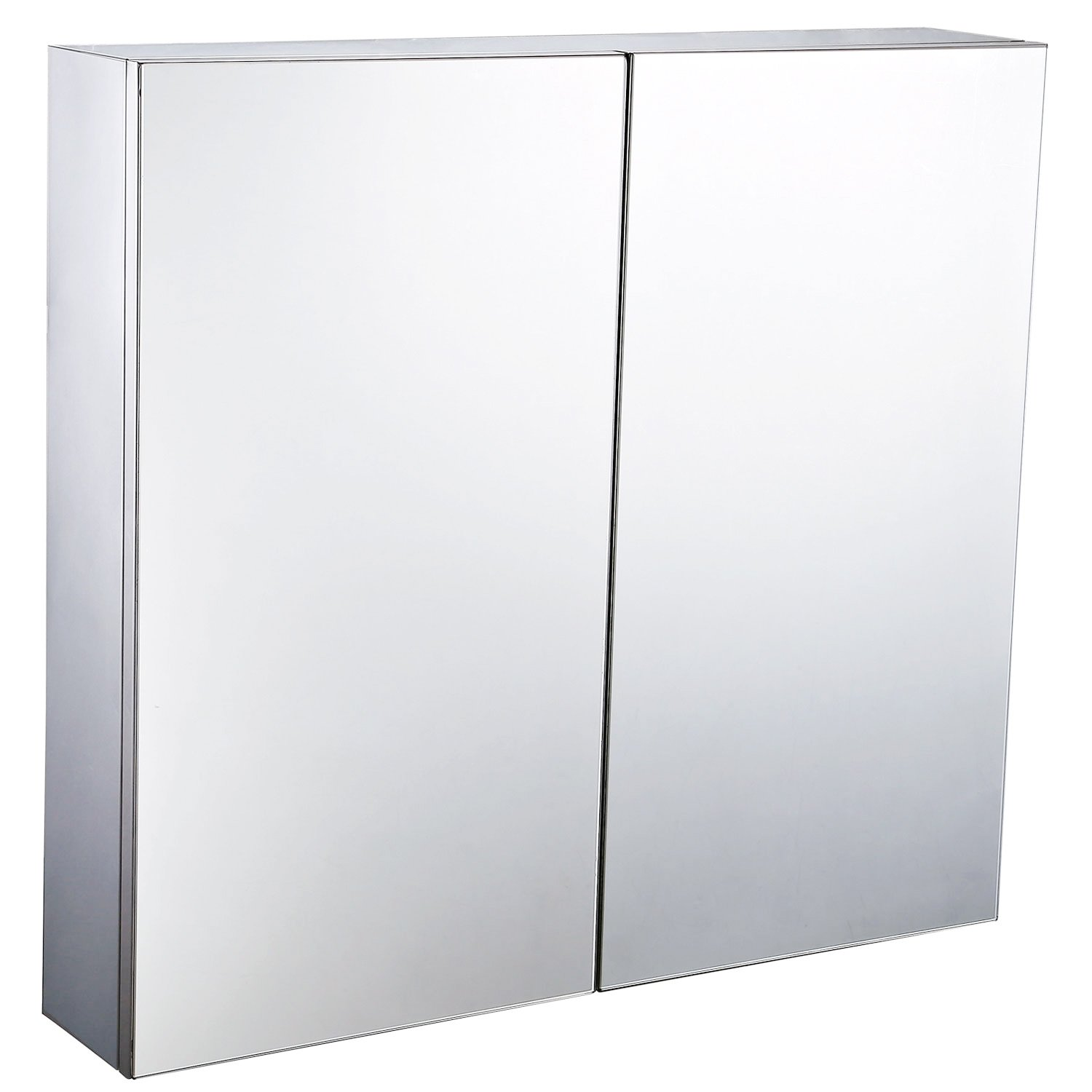Homcom Stainless Steel Wall Mounted Bathroom Mirror Storage Cabinet Double Doors 600mm W Amazoncouk Kitchen Home