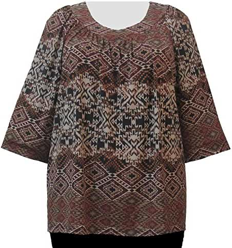 A Personal Touch Beige Diamond Tribal Women's Plus Size V-Neck Top