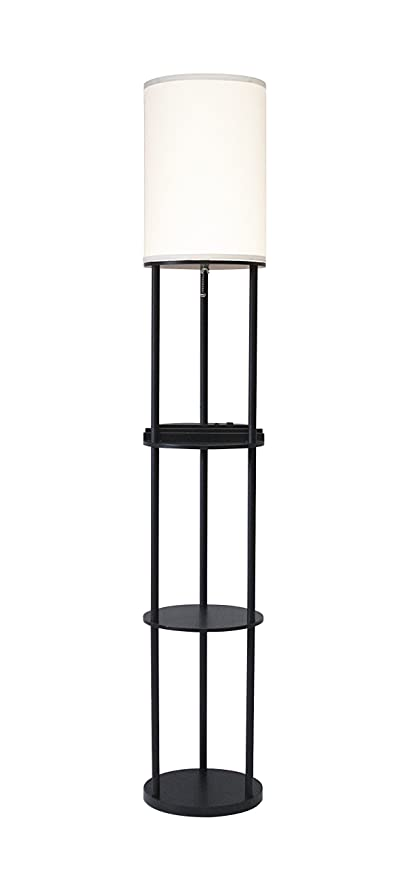 Beau Adesso 3116 01 USB U0026 AC Charging Station Floor Lamp   Night Lamp With 2