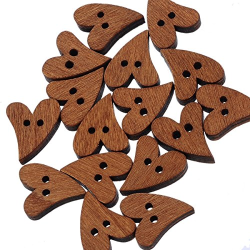oles Wooden Heart Buttons Fit Sewing and Scrapbook 19x17mm ()