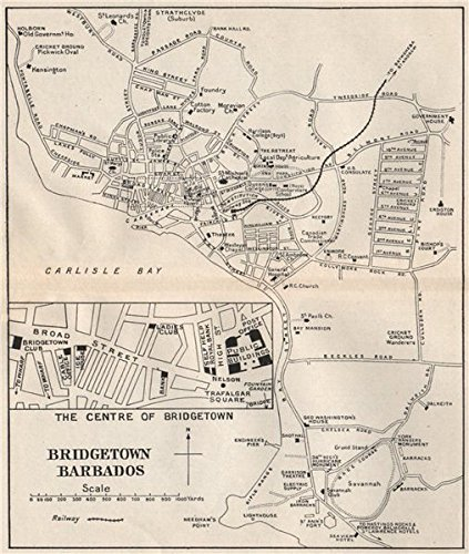 Amazoncom BRIDGETOWN Vintage town map Barbados West Indies