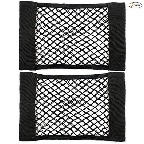 2 Pack Trunk Storage Net,Universal Mesh Cargo Net Velcro Car Storage Net Wall Sticker Organizer Pouch Bag Storage Mesh NetFlexible Nylon Car Storage Wall Sticker Pouch Bag (Trunk Storage Velcro)