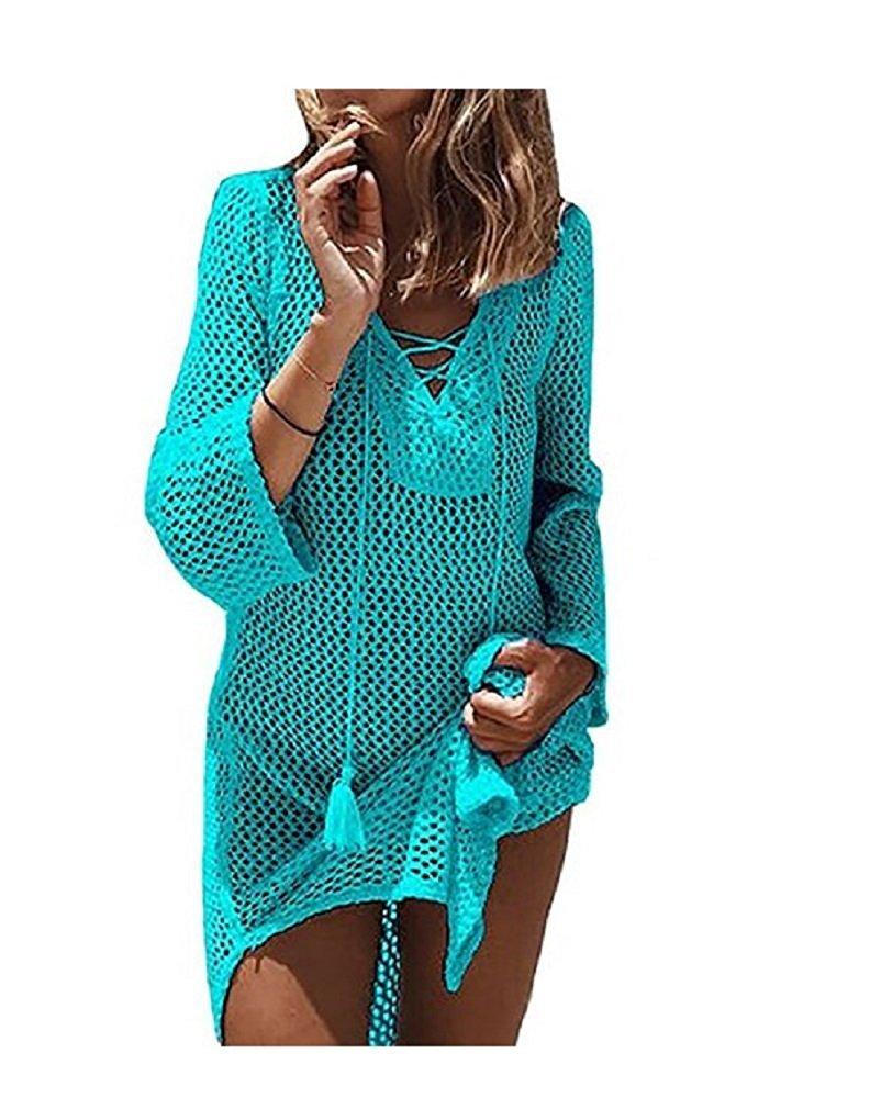 ElfZ Women's Bathing Suit Cover-UPS Swimwear Crochet Tunic Bikini Cover Up Beach Swimsuit Dress (Green) One Size