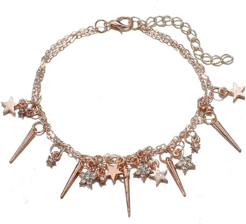 Butterfly Iron Anklets Womens 2 Layers Fashion Star Pendant Rhinestone Chain Anklet Beach Sandal Barefoot Jewelry