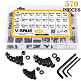 VIGRUE M3 M4 M5 Alloy Steel Hex Socket Button Head Cap Nuts Flat Washers Kit Black Screw Assortment(570 PCS)