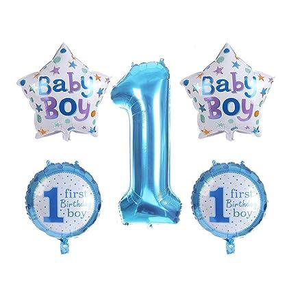 Kongqiabona 5 Unids / Set 1er Primer Cumpleaños Globos de ...