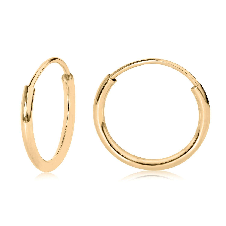 14k Yellow Gold Endless Hoop Earrings 10mm 41050