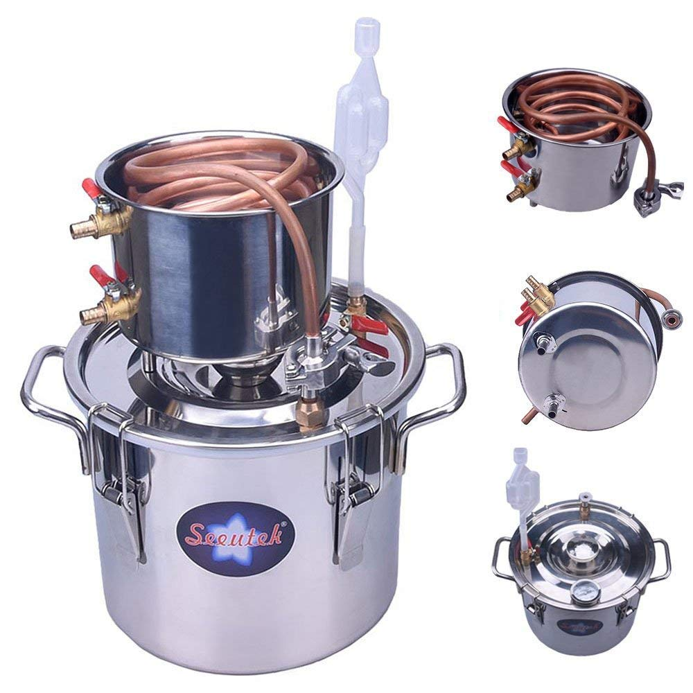 Seeutek 2 Gallon 8L Copper Tube Moonshine Still Spirits Kit Water Alcohol  Distiller Home Brew Wine Making Kit Stainless Steel Oil Boiler