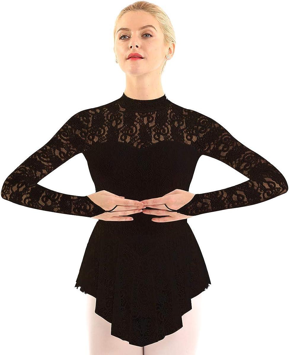 inlzdz Women's Figure Skating Dress Long Sleeve Fingerpoint Competition Dance Leotard Dresses