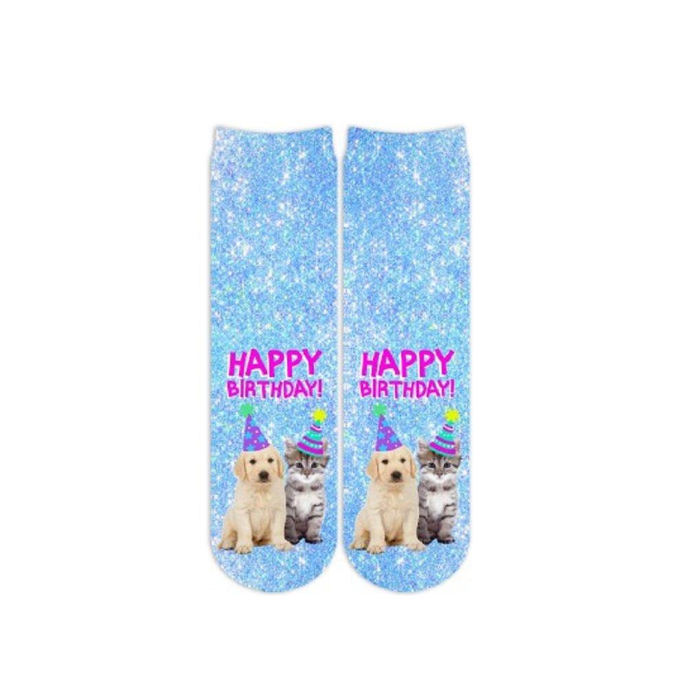Sublime Designs SD07-BDA-HBA Happy Birthday Animals Crew Socks