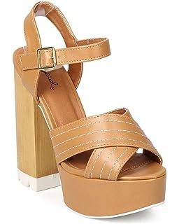 3cd18dcfc6eb Women Leatherette Peep Toe Criss Cross Block Heel Platform Sandal EJ52 - Tan