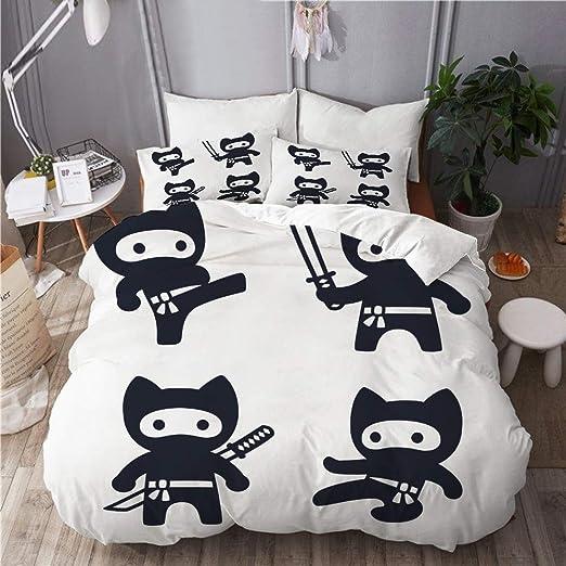 AIMILUX Ropa de Cama,Cute Dibujos Animados Ninja Cat Set ...