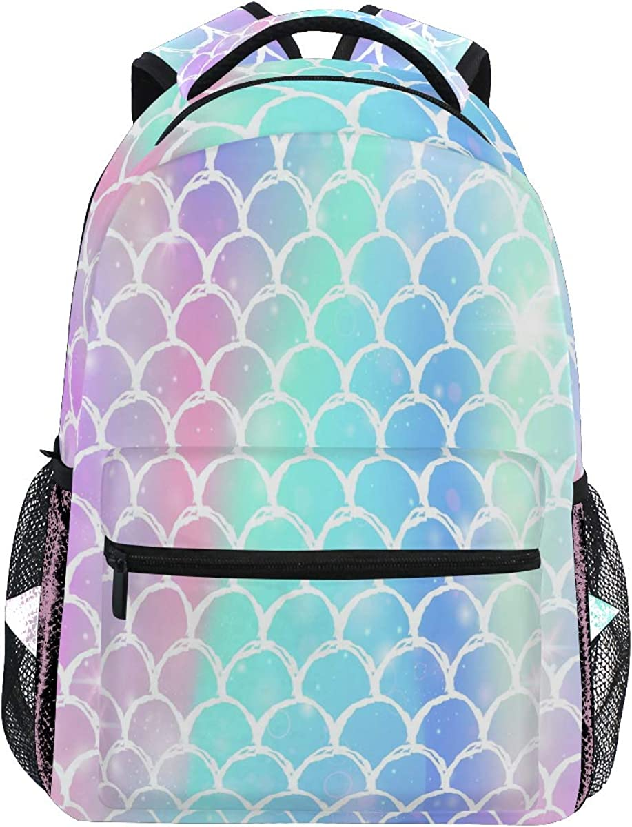 Mermaid Scale Backpacks for Kid Girls, Rainbow Marble Galaxy Laptop Backpack
