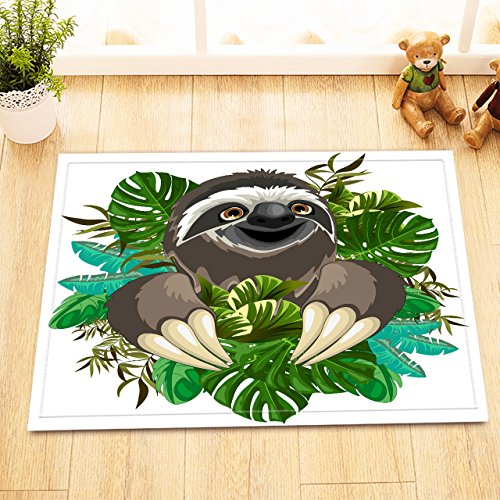 LB Cute Sloth in Green Tropical Leaves Bathroom Rugs Print, Soft Absorbent Flannel Safe Rubber Backing, Jungle Animal Theme Bathroom Decorations 15 x 23 Inches
