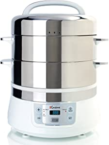 Euro Cuisine FS2500 Electric Food Steamer, White/Stainless Steel