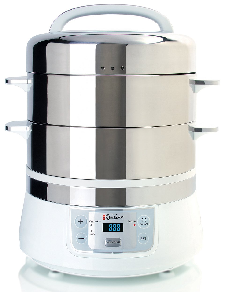 Euro Cuisine FS2500 Electric Food Steamer, White/Stainless Steel by Euro Cuisine