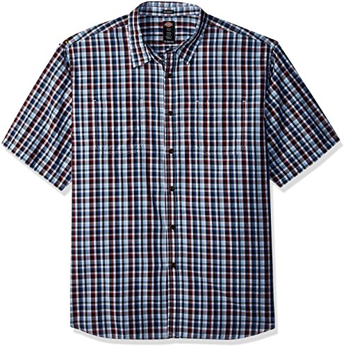 Dickies Men's Yarn Dyed Plaid Short Sleeve Shirt Big-Tall, red/Blue/White Check, 5T