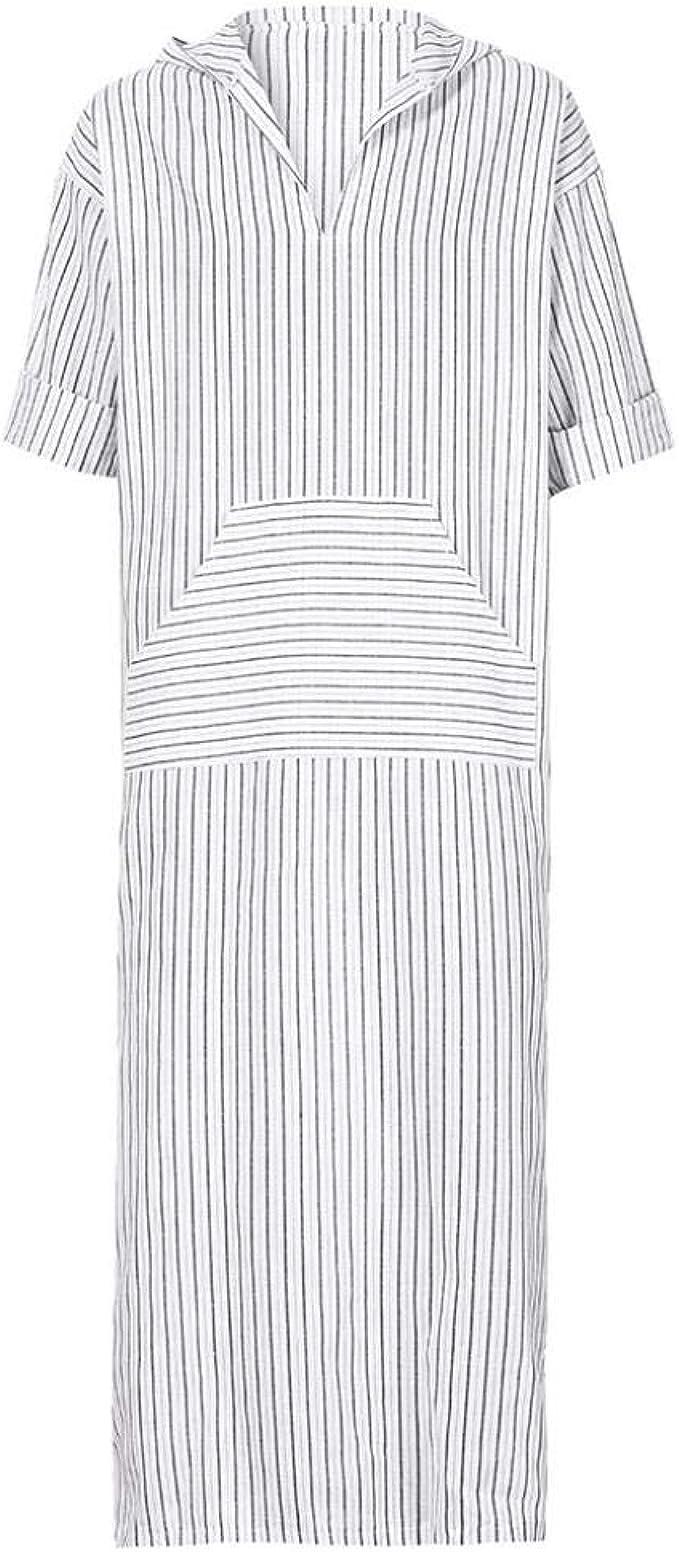 Routinfly M/änner Lose Shirts m/ännlichen Langarm-T-Shirt mit Kapuze Vintage Casual Dress Kaftan Ethnischen Robe