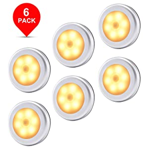 Motion Sensor Light, Wireless Battery Powered LED Night Lights Stick Anywhere Lamp for Home, Kitchen, Hallway, Cabinet, Closet, Stair, Bathroom (6-Pack Warm Light)