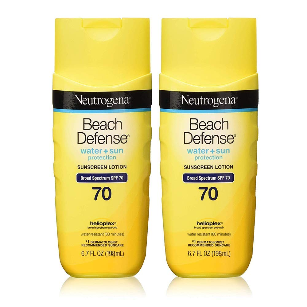 Neutrogena Beach Defense Water Resistant Sunscreen Body Lotion with Broad Spectrum SPF 70 (6.7 oz - 2 Pack)
