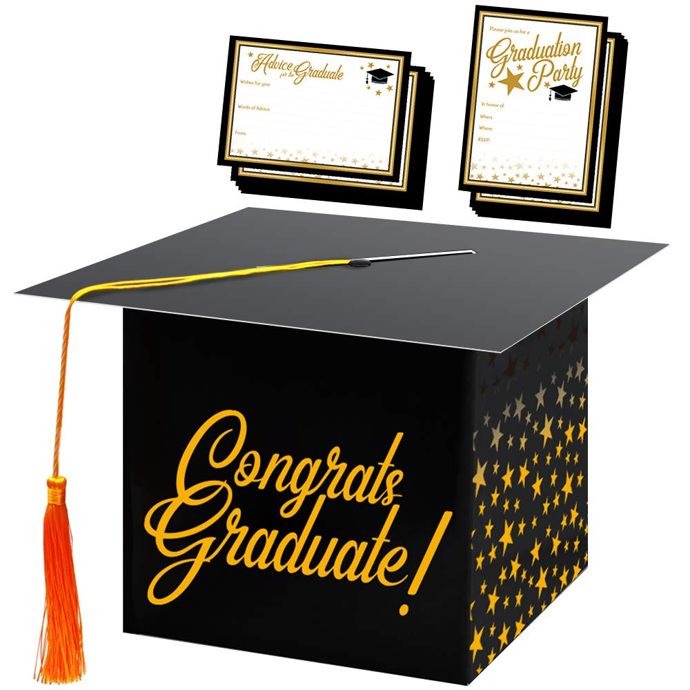 Congrats Graduation Cap Card Box w/72 Cards and Envelopes for Invitation and Advice Cards, College University High School Grad Party Supplies, Table 2019 Decoration Kit and Black and Gold Party Favors