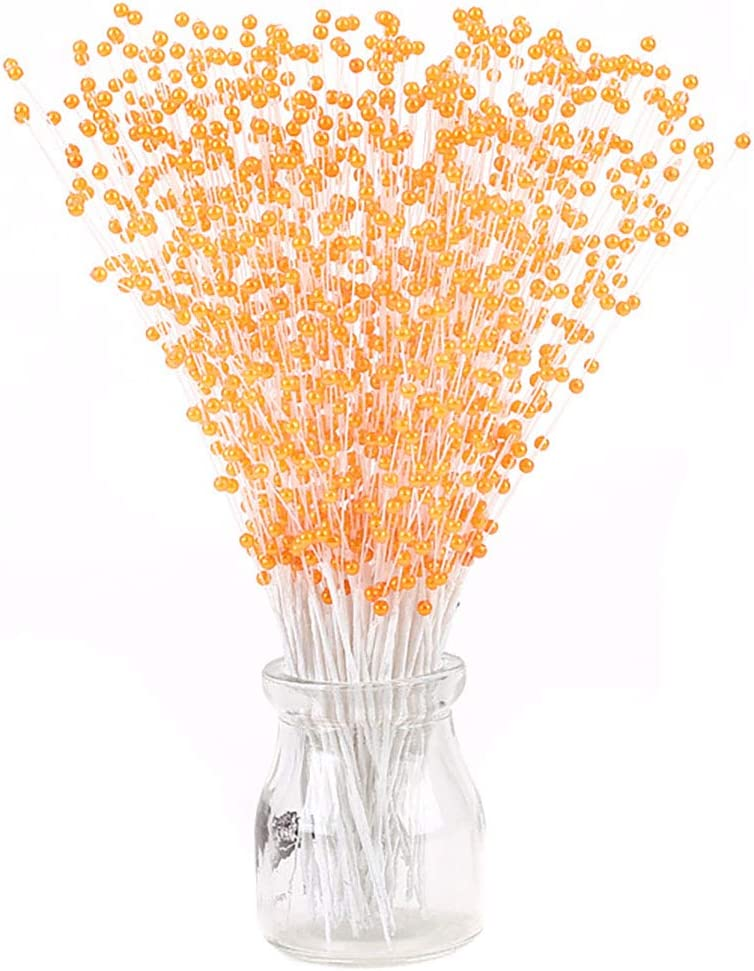 100 Stems Imitation Pearl Sticks Beaded String for Crafts Spray Beads Wire Stems DIY Accessories Christmas Garland Wedding Bridal Flower Bouquet Party Table Decor (Orange)