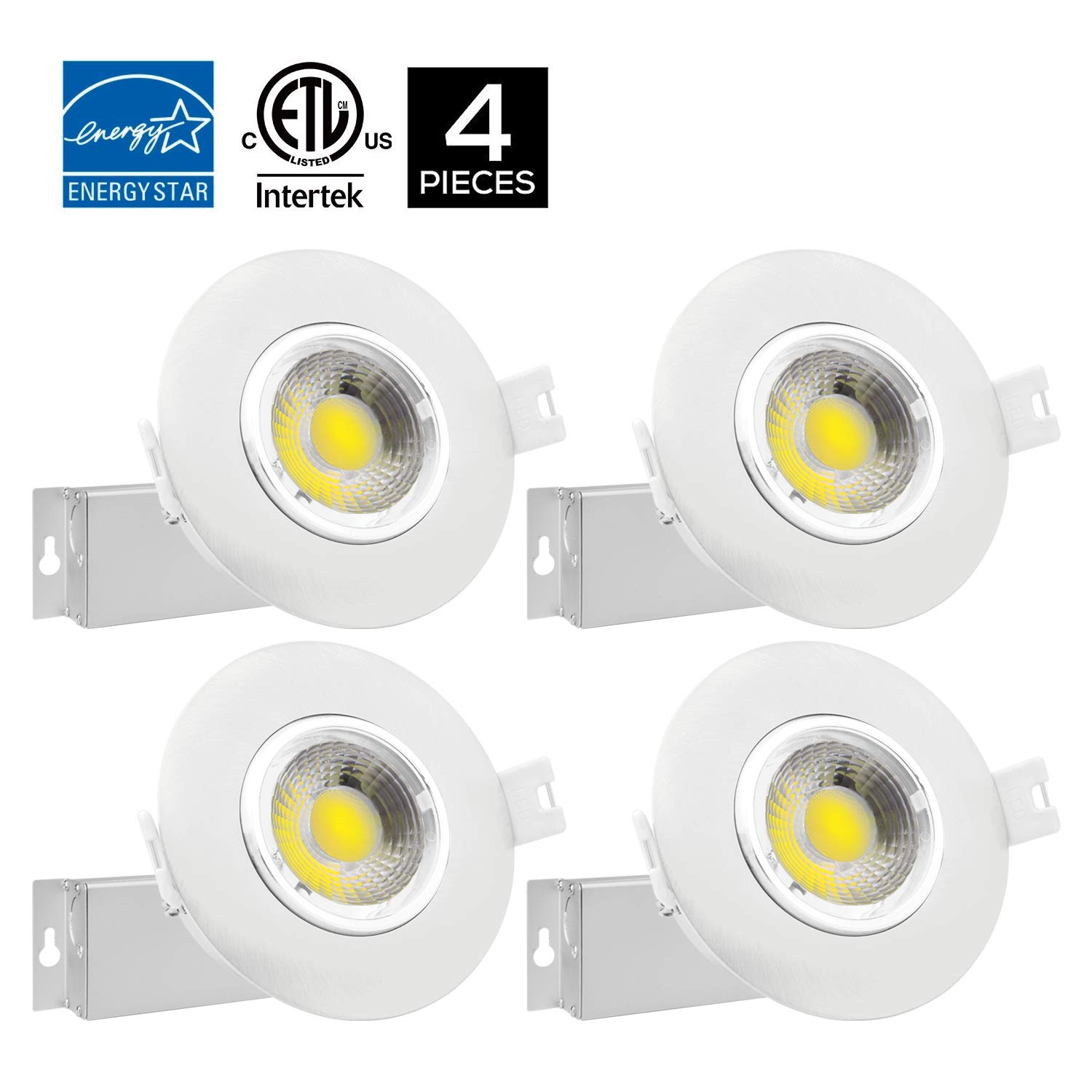 4Pack 3 inch Dimmable Gimbal Recessed LED Downlight 8W (65W Equiv.) No Can Needed, IC Rated, ENERGY STAR 5000K Daylight White 750lm Adjustable LED Retrofit Lighting Fixture