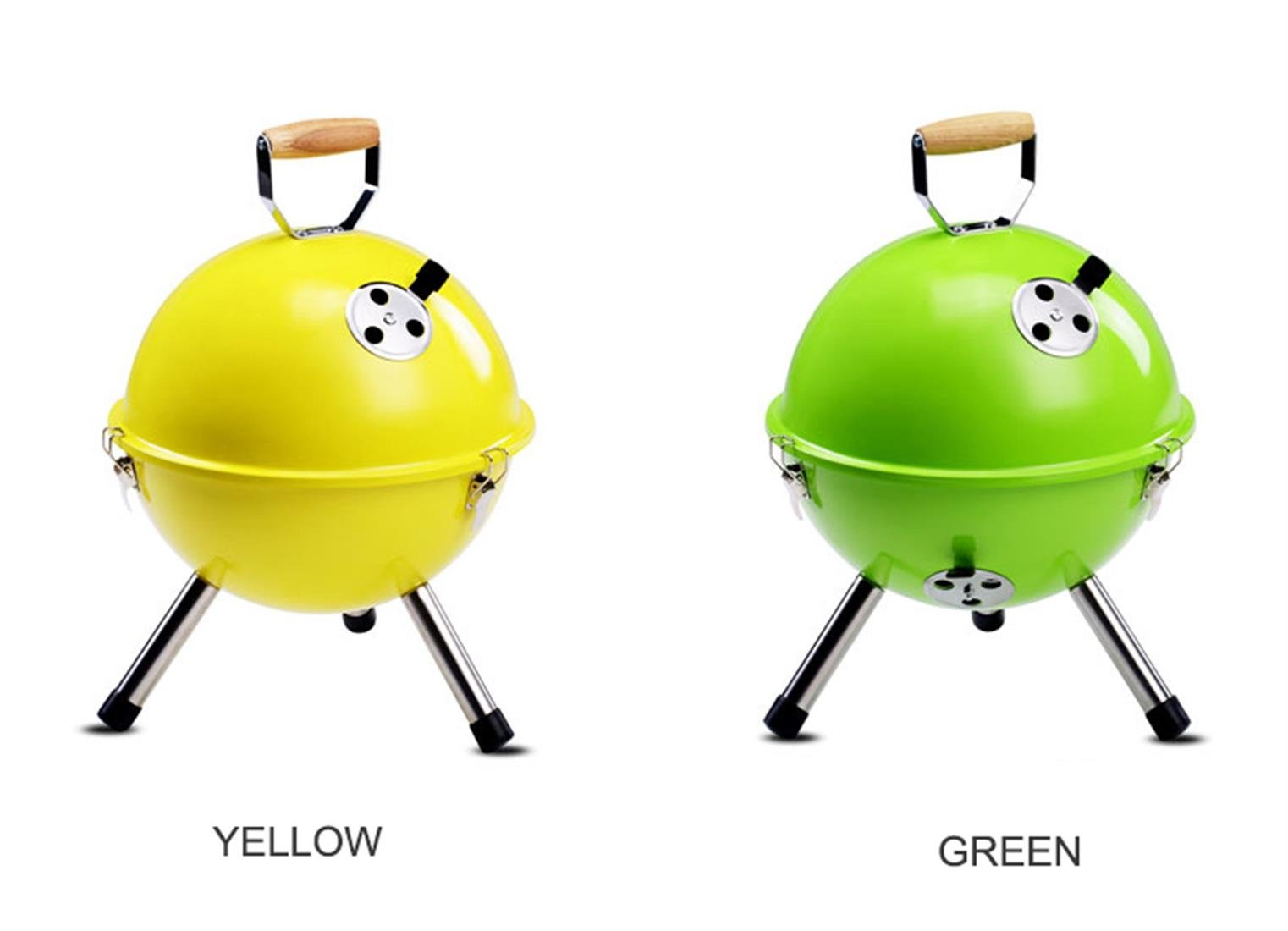 QueenA 17 Inches Smokeless Outdoor Charcoal Grill Mini Round Portable Barbecue Grill Adjustable Temperature Easy Clean BBQ Roast Hibachi Grill for Backyard Hiking Picnic Camping (Yellow)
