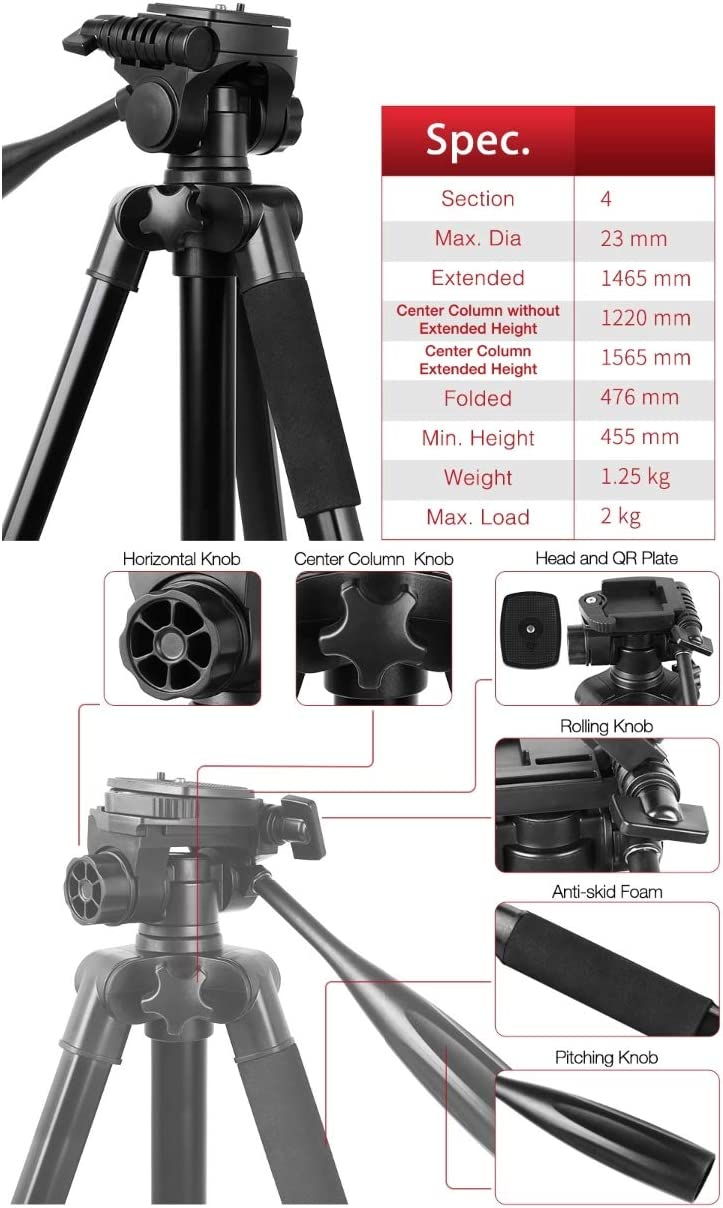 3D Pan//tilt Suitable for Cameras and Recorders Portable Light Weight Camera Tripod Up to 1465mm Professional Camera Stand Set